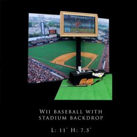 Wii Baseball with Stadium Backdrop