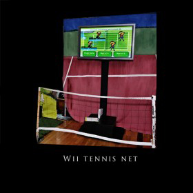 Wii Tennis with Net and Tennis Court Backdrop
